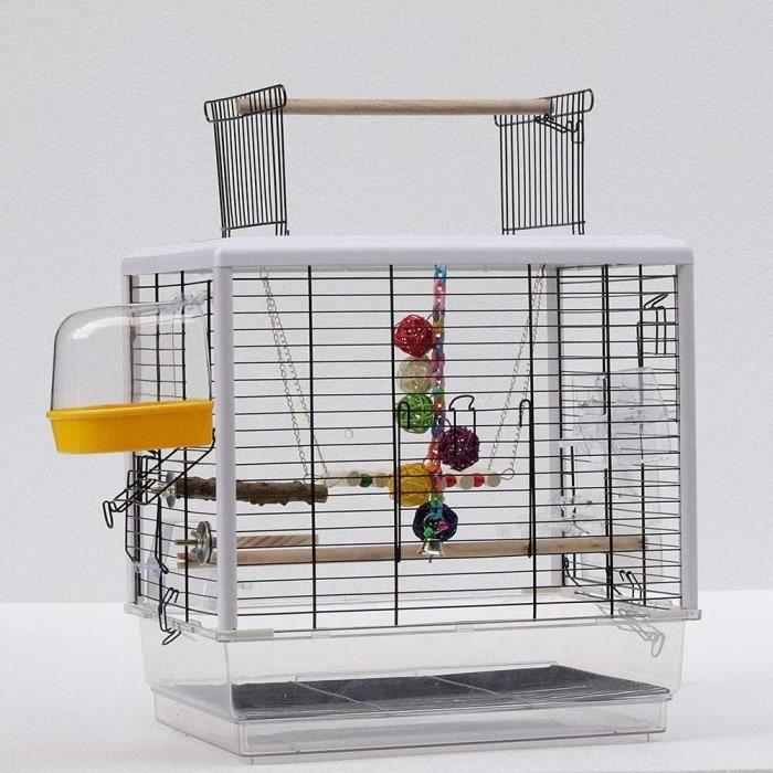 VOLIERE - CAGE OISEAU Grande Voli&egravere Cage pour Oiseaux 47&times35&times47,5 cm, Transparent et Noir (sans Jouets)80