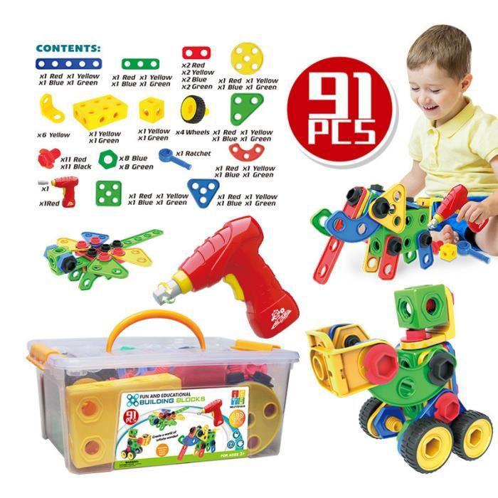 TSTR® Mosaique Puzzle Enfant 3D Jouet à Visser Construction avec Perceuse Électrique 91 pcs Jeux Cadeau pour Enfants 3 Ans+