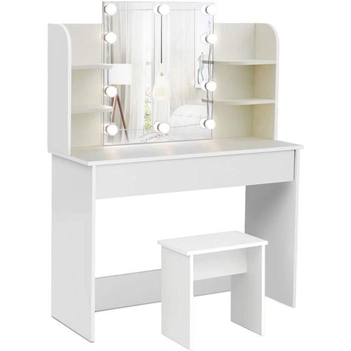 Coiffeuse - avec Miroir et Tabouret, LED Lumière, Moderne, Grand Tiroir, 6 Étagères, 108x40x142cm Blanc-Mondeer
