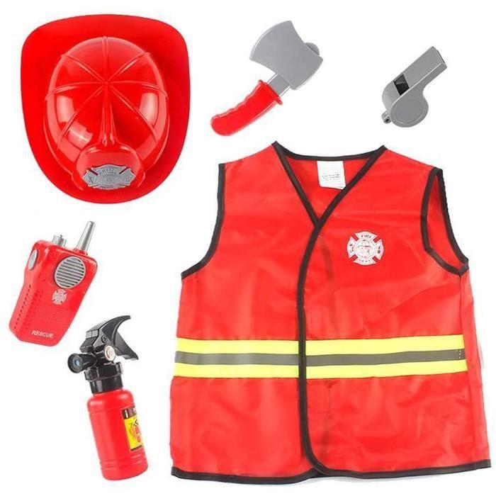 Déguisement de Pompier pour Enfants et Accessoires de Jouets de Pompier Cadeau pour Enfants