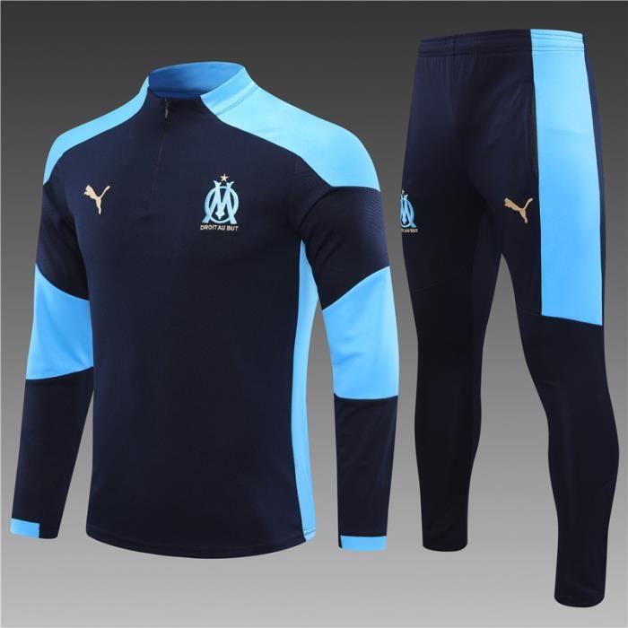 Survêtements OM Marseille 2021 Maillot Homme Enfants Maillot de Football Nouveau - Bleu