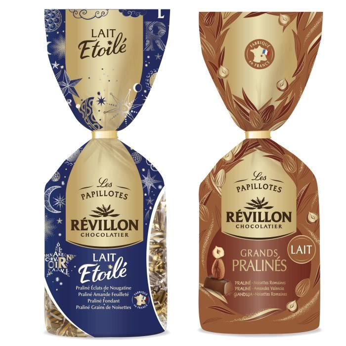Révillon Chocolatier - Lot de 2 sachets de papillotes Lait