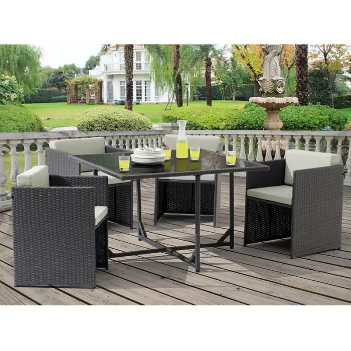 Ensemble de jardin en r sine tress e gris table 4 fauteuils oceane achat vente salon de for Ensemble de jardin en resine tressee