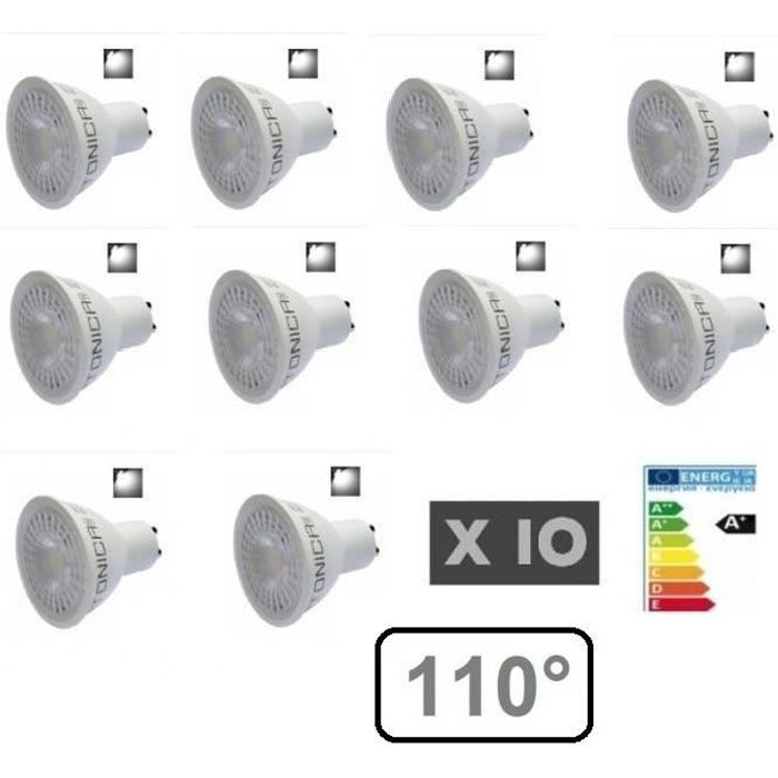 Blanc Angle 5w Lot Led 6000k Projection 110° Froid 10 Ampoule Gu10 mvN8ny0wO