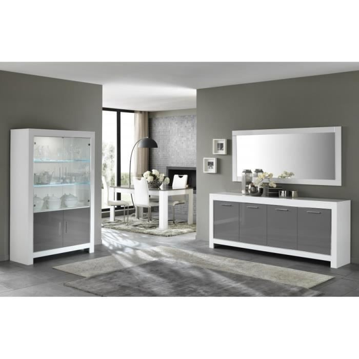 buffet salle a manger blanc gris achat vente buffet salle a manger blanc gris pas cher les. Black Bedroom Furniture Sets. Home Design Ideas