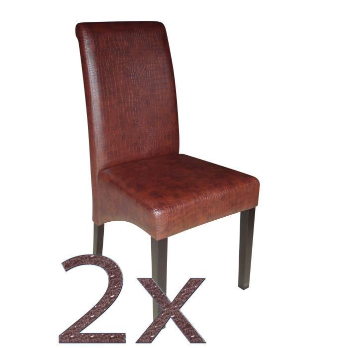 2 chaises simili cuir crocodile marron achat vente chaise cdiscount. Black Bedroom Furniture Sets. Home Design Ideas