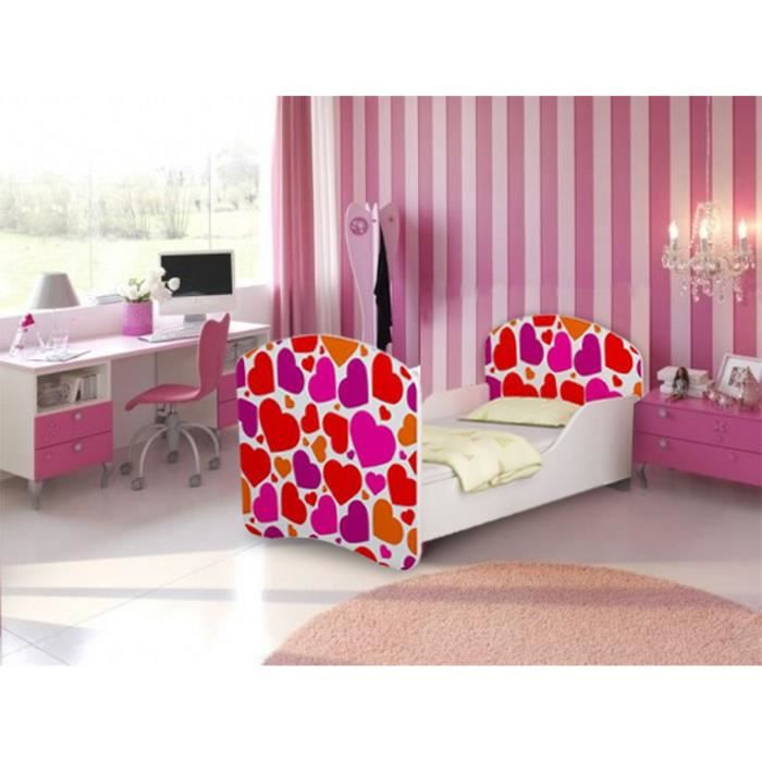 lit enfant coeurs sommier matelas 140x70 cm achat. Black Bedroom Furniture Sets. Home Design Ideas