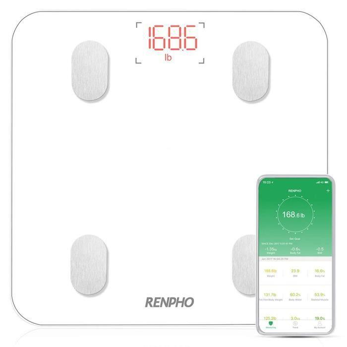 P/èse Personne Imp/édancem/ètre P/èse-personne Balance Connect/é Bluetooth pour IOS et Android 3 Piles 1.5V AAA Balance P/èse Personne BMI//Muscle//Graisse Corporelle//Masse Osseuse Noir Non Incluses