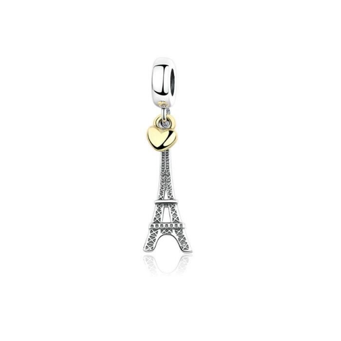 Charms Bead Pendant Tour Eiffel Paris en Argent 925 - Blue Pearls