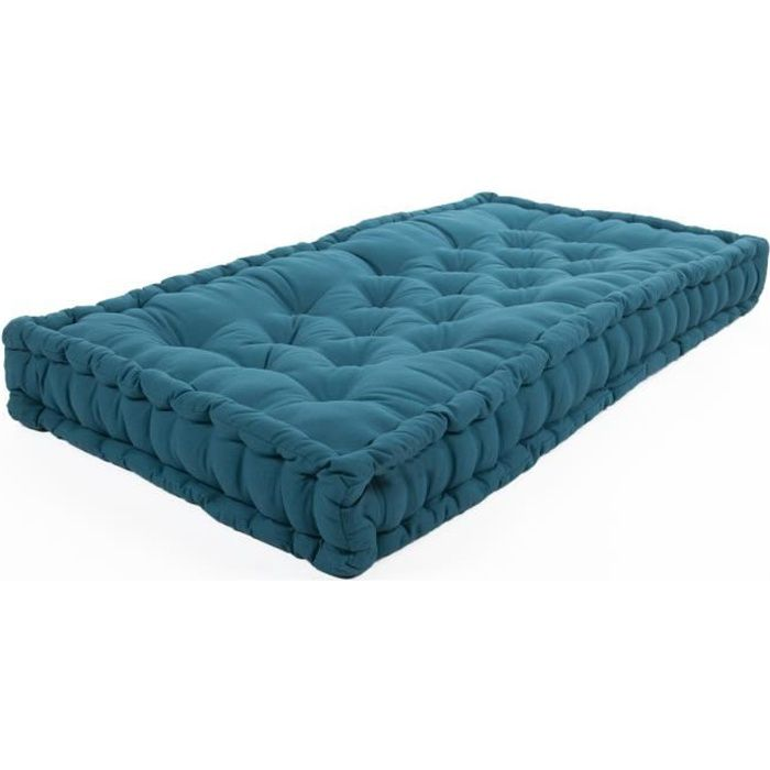 matelas de sol coton 60x120x15cm bleu canard achat. Black Bedroom Furniture Sets. Home Design Ideas