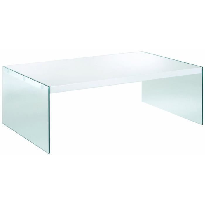 Table d 39 appoint en mdf verre tremp coloris bl achat vente table d - Table and co vente en ligne ...