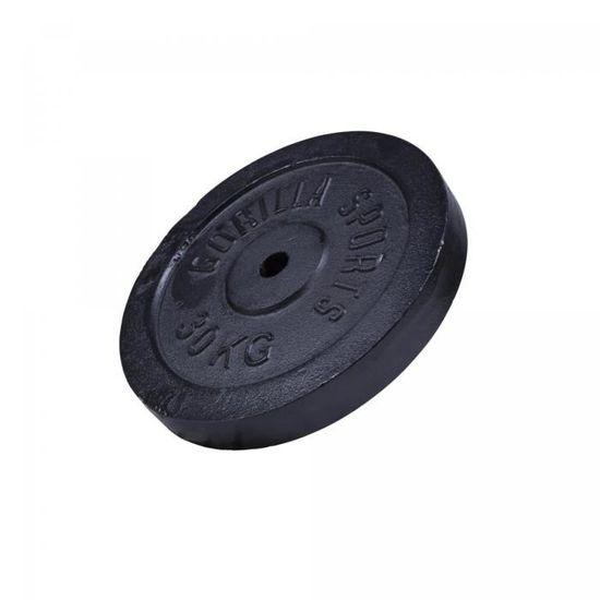 Gorilla Sports Poids Disque en Fonte Couleur Or ou Noir de 0,5kg /à 30kg