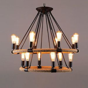 R tro vintage suspension corde de chanvre lustre for Lustre ou suspension