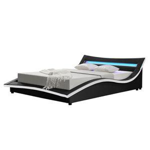 STRUCTURE DE LIT Cadre de lit MIAMI en PU Noir 160 x 200 cm avec LE