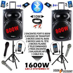 AMPLI PUISSANCE PACK DE 2 PORT15VHF-BT 1600w complet idéal pour to