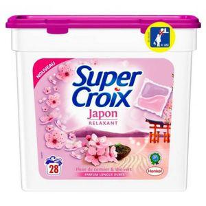 LESSIVE Super Croix 28 Dosettes Japon Relaxant Fleur De Ce