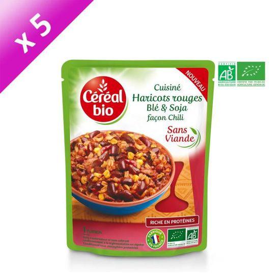 Cereal Bio Lot De 5 Plats Cuisines De Haricots Rouges Ble Et Soja