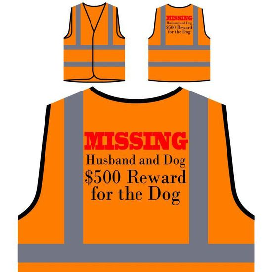 a5a508f281fa4 Visibilité Récompense Veste The Husband À Dog missing Protection Orange Le  Haute 500 Personnalisée Prot De ...