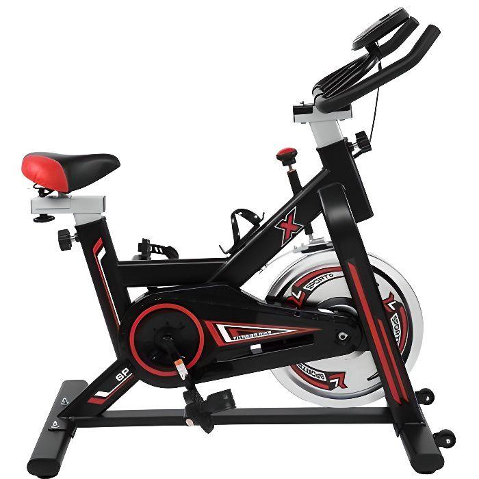 GH-709 Vélo d'appartement avec Selle et Poignée Réglable, vélo d'intérieur,noir,105 * 50 * (108-118) cm