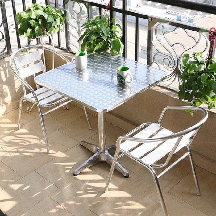 Table de bar pliable table de Jardin cuisine salle à manger - Hauteur réglable 70 -110 cm - Matériau: cadre en aluminium