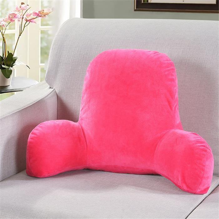 Coussin de chaise de soutien lombaire de coussin de repos de lecture de grand dossier en peluche avec des bras g1322