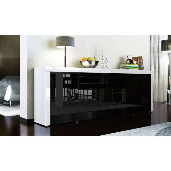 Buffet enfilade blanc et noir 200 cm