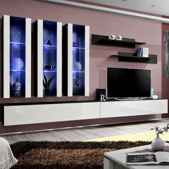 Ensemble meuble TV blanc et noir PIAZZA Blanc L 320 x P 40 x H 190 cm