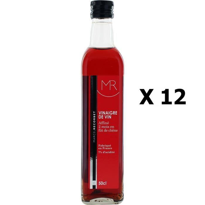 Lot 12x Vinaigre de vin rouge - MR - bouteille 500ml