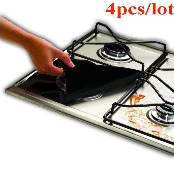Ustensile de cuisine,Revêtement de protection de cuisinière pour cuisinière 4 pièces-lot, accessoires de cuisine, - 4pcs Black #B