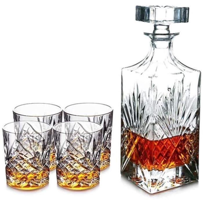 Carafe à whisky Carafe à vin Coffret cadeau de carafe à whisky 5 pièces, Carafe en verre de cristal sans plomb avec 4 whisky, pour l