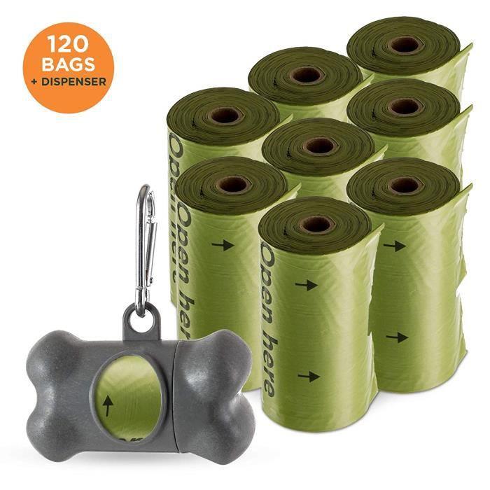 Sacs pour déjections Canines et Distributeur Pack de 120 Sacs par Simply Natural Pack de 120 Sacs pour déjections Canines épais e