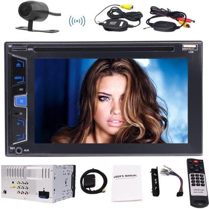 EINCAR AUTORADIO 6,2 pouces stéréo GPS Autoradio Bluetooth Radio En Dash 2 Double Din Car CD DVD Lecteur USB SD support AM FM RDS 7