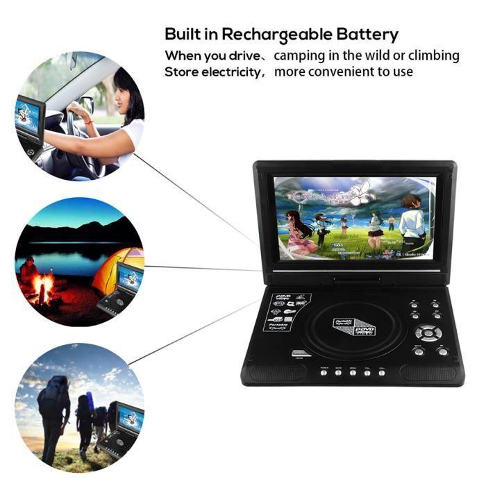 9.8- Lecteur CD portable de voiture DVD écran TFT-LCD 270 Rotation pour Game TV Vidéo Avec lecteur de carte USB/SD