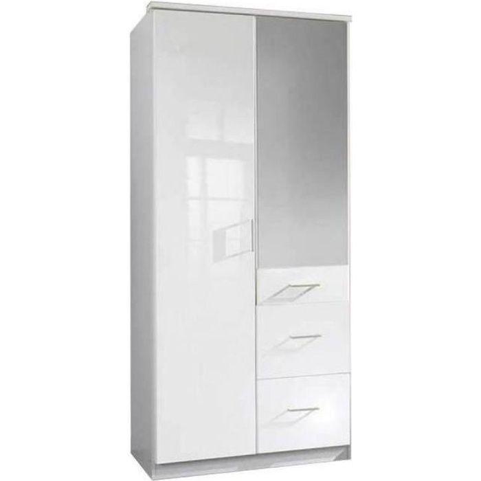 Armoire COOPER portes battantes, miroir et 3 tiroirs largeur 91 coloris laqué blanc / blanc blanc MDF Inside75