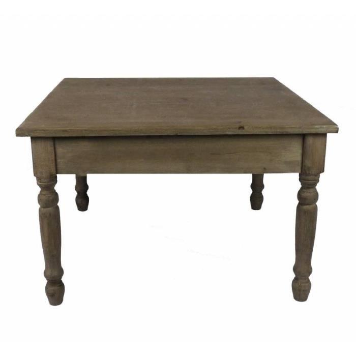 Charmante Table Basse Console de Salon Bout de Canapé Desserte d'Appoint Forme Carrée en Bois Patiné Marron 45x70x70cm