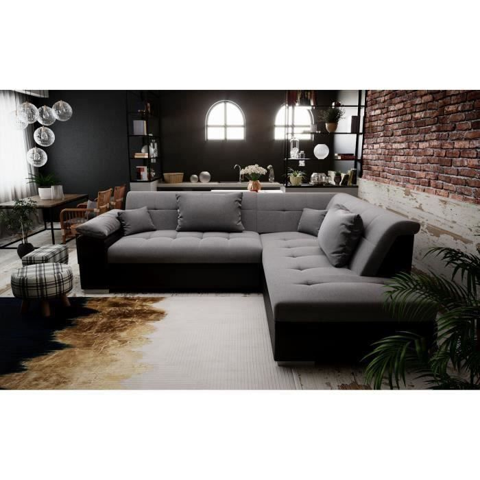 PEYTON - canapé d'angle convertible - angle droit - gris noir