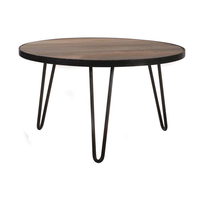 Miliboo - Table basse ronde design industriel 80x45 cm ATELIER
