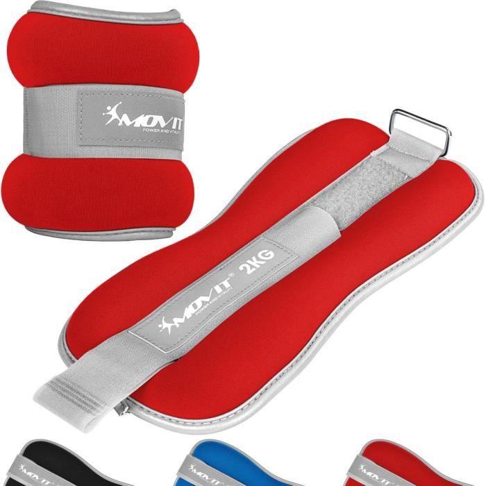 MOVIT Bandes lestées pour poignets et chevilles 2x2kg, néoprène rouge + tissu éponge