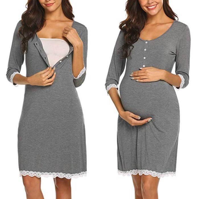 Soins infirmiers de maternité Dentelle Livraison Nightgowns Survêtement allaitement Robe gris