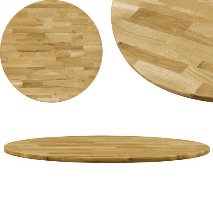 Dessus de table Rond 23 mm 500 mm Bois de chêne massif