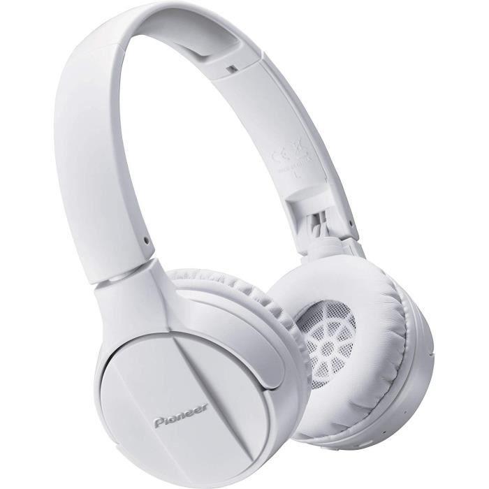 PIONEER Casque sans fil stéréo - Bluetooth - Arceau dynamique - 15h d'autonomie - Blanc