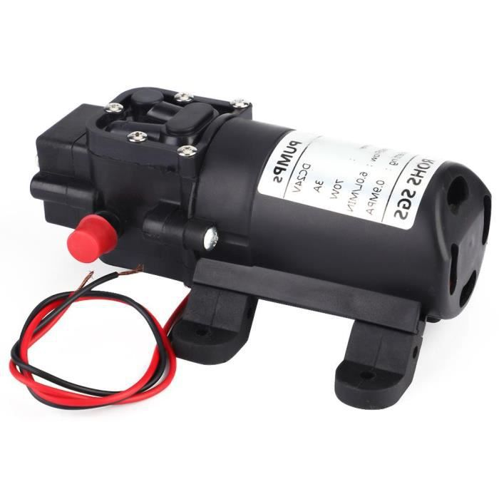 Qiilu Pompe à aspiration simple Pompe à eau à membrane d'aspiration simple auto-amorçante à double tuyau droit 24V 70W