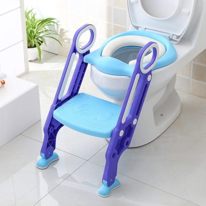 Réducteur De WC Bébé Siège De Toilette Enfant Pliable Réglable Avec Marches Larges Bleu