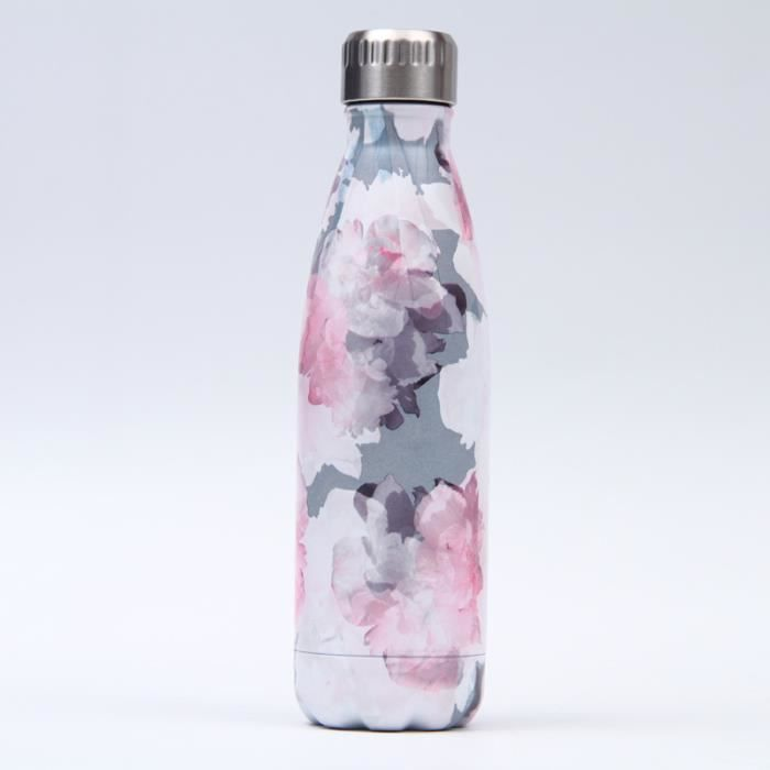 Bouteille d'eau en Acier Inoxydable Fleur Imprimé Thermos 500ml Double Paroi Isolée sous Vide Gourde Isothermes - Style 127