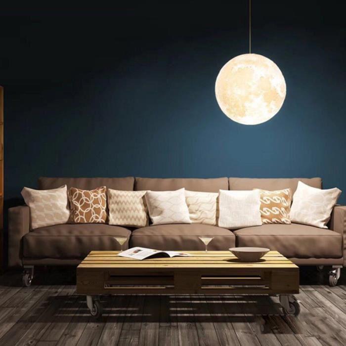 Creative Lune Boule Forme LED Pendentif Lampe De Mode Plafonnier Décoratif 3D Impression Lustre Pour La LUSTRE - SUSPENSION