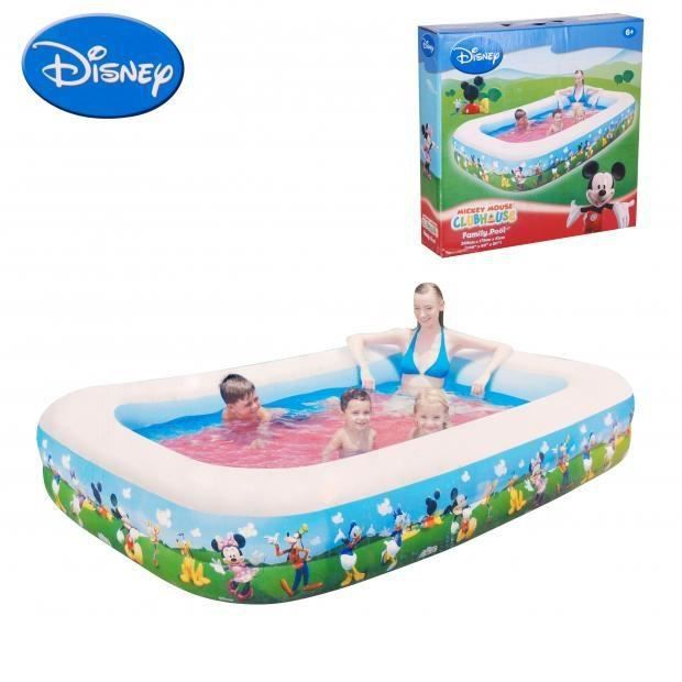 Piscine gonflable mickey rectangle enfant 269x175x51 for Piscine jardin rectangle