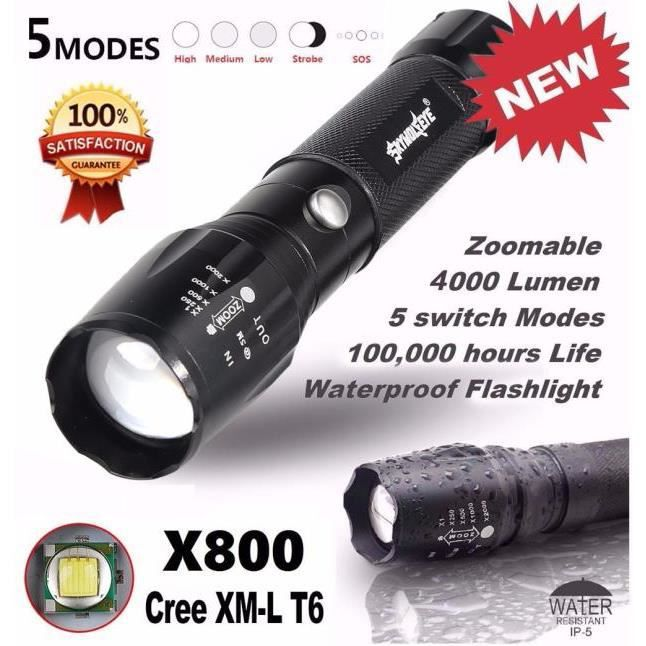 Lampe de Poche Super Lumineux 5000 lm 5 Mode