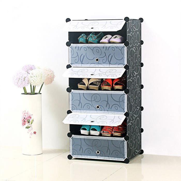 yongshia 6 niveaux armoire etagere a chaussures pa