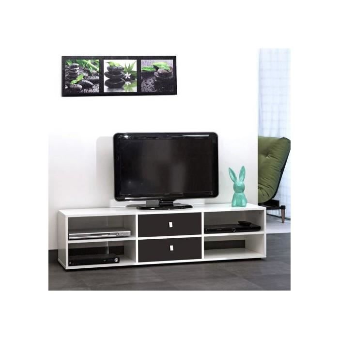Meuble tv 4 niches 2 tiroirs 148 5 cm blanc noir achat - Meuble tv 4 niches ...