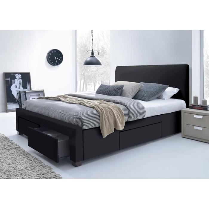 lit pu noir avec t te de lit seattle 160 x 200 achat. Black Bedroom Furniture Sets. Home Design Ideas